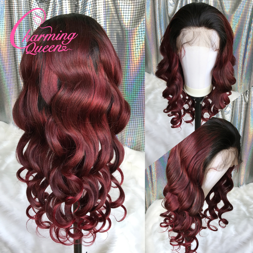 Brazilian Lace Front Human Hair Wigs For Black Women T1B 99J Pre Plucked Loose Wave Remy