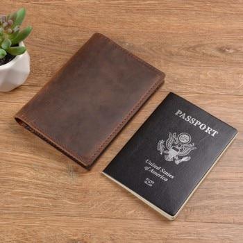 100 ٪ حقيقية مجنون الحصان الجلود غطاء جواز سفر الصلبة بطاقة الهوية حالة حامل الأعمال للجنسين سفر المحفظة recommanded 2