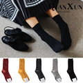 Women socks autumn and winter solid color bars twist socks all-match brief vintage knee-high pile of female socks