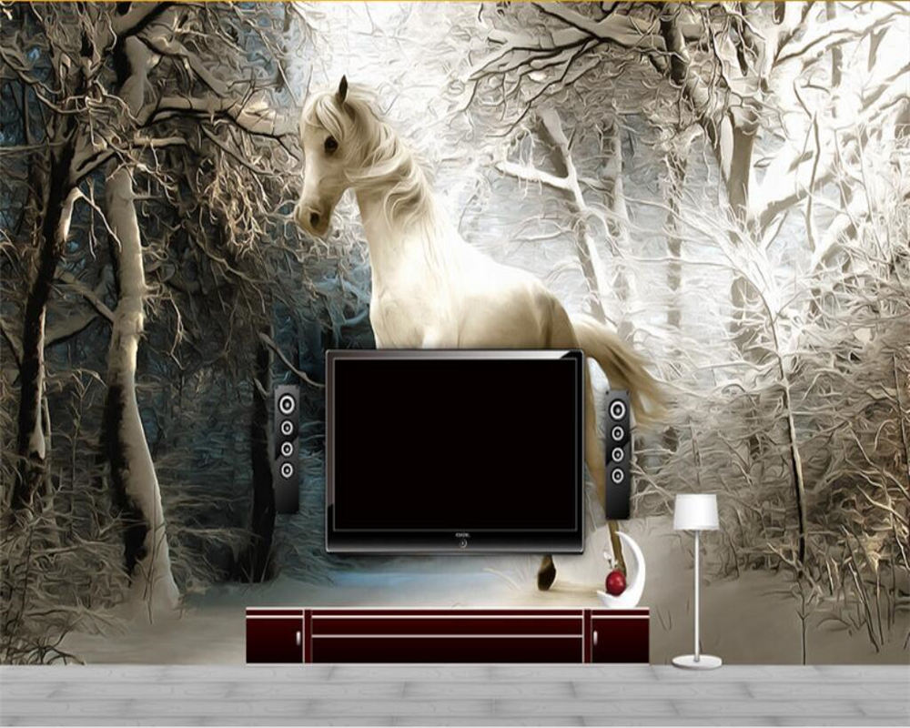 beibehang Children room background decoration 3d wallpaper forest snow horse to success TV wallpaper for walls 3 d behang creative mural chinese horse to success