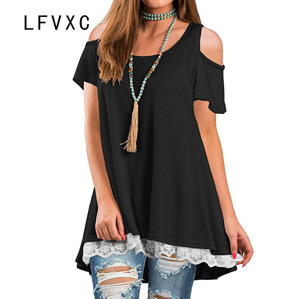 LFVXC 2018 summer casual t shirt women off shouler top solid color slim fit lace loose tunic elegant t shirt CL002