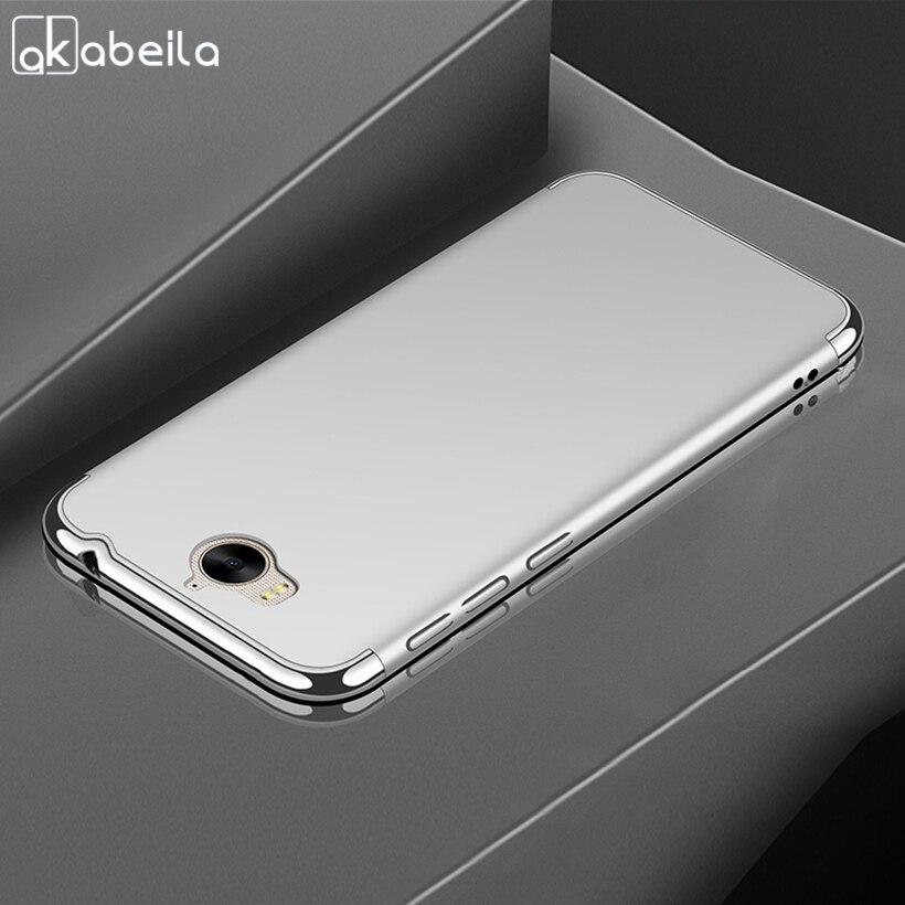 AKABEILA Plating Plastic Case For Huawei Y5 2017 Case Back Cover Coque Funda for Y5 III Y5 3 Y6 2017 MYA-L22 Anti-Knock Etui