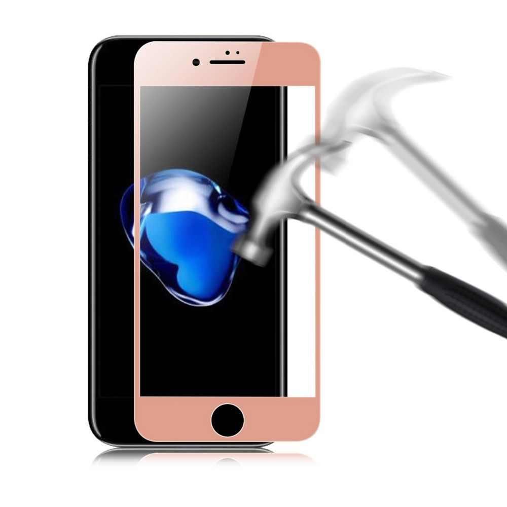 9H 3D Screen Protector dla Iphone 7 szkło 8 6 6S Plus pełna pokrywa różowe złoto szkło hartowane Iphone 7 8 6 6S Plus folia ochronna