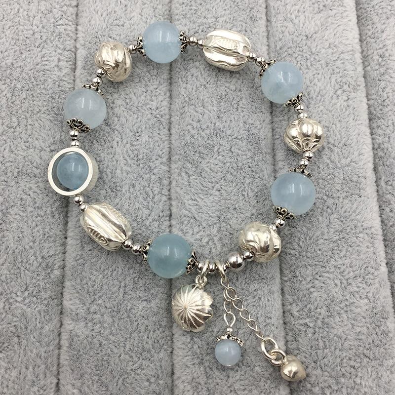 Sinya Natural Aquamarine Bracelet in 925 sterling silver blue crystal elastic bangles for Lover women ladies Mum best gift 2018