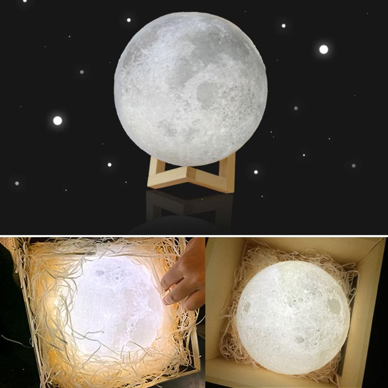 New 3D Moon Lamp USB LED Night Light Lunar Moonlight Touch Sensor 2 Color Changing Bedroom Christmas Home Decoration Moon Light