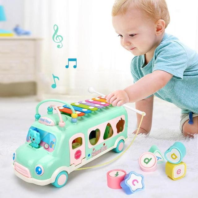 Multifunction Baby Musical Toys Bus Knocking Music Instruments Piano Puzzle Beat Educational Car Toddlers Toy For Children Gifts