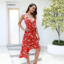 Summer new hot fashion personality bohemian style sexy print slim sling female high waist dress