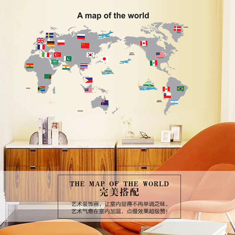HOT sale A map of the world wall stickers for study room Decorative Removable Adhesive Vinyl Poster For Wall Decal