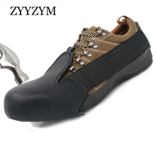 ZYYZYM Safety Toe Shoes Covers Men Work Steel Shoe-Covering Leather Factory Visitors Use