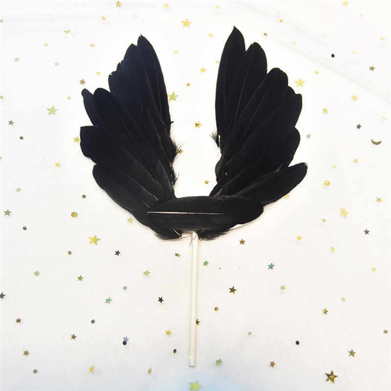 Крылья ангела перо счастливый Декор ко дню рождения торт Топпер выпечки DIY аксессуар баннерная карточка Романтический вечерние украшение для свадебного торта