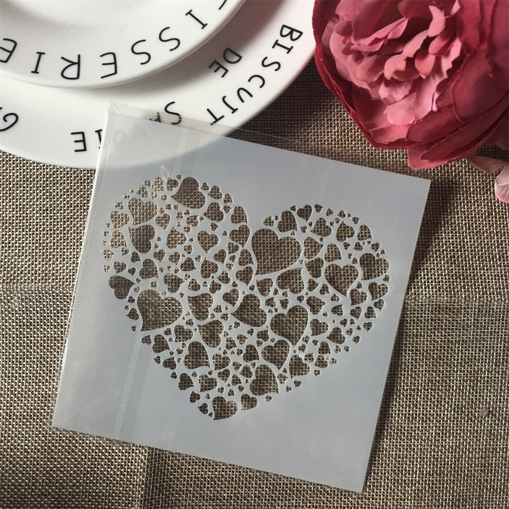 1Pcs  13cm Love Heart DIY Craft Layering Stencils Wall Painting Scrapbooking Stamping Embossing Album Paper Card Template F5173