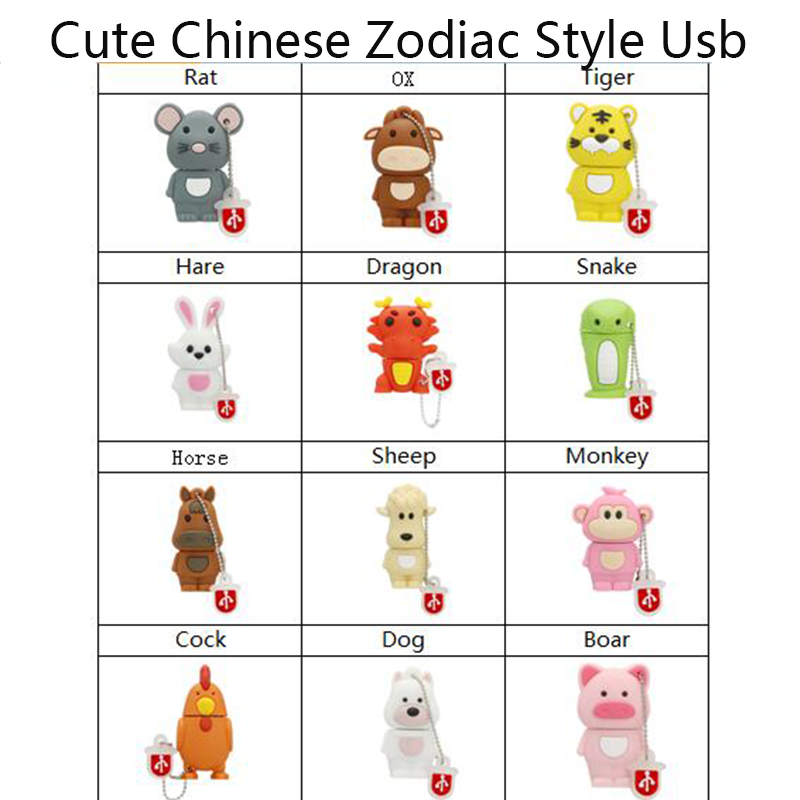 Chinese Zodiac Usb Flash Drive Disk Animal Green Snake Chicken Rabbit Horse Monkey Memory Stick Pendrive Pen Drive 8GB 16GB 32GB