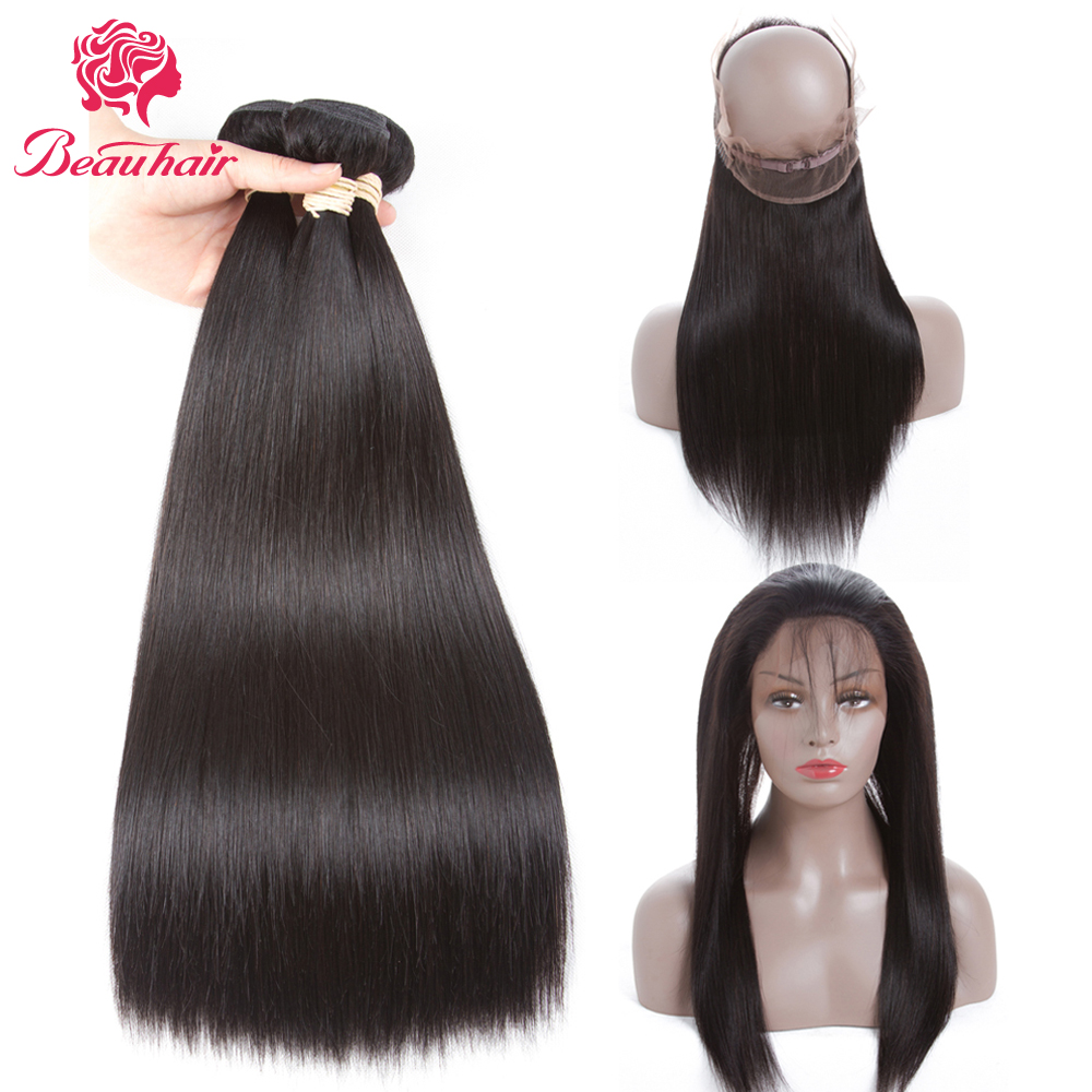 Beau Hair Brazilian Straight Human Hair 2 Bundle With 360 Lace Frontal Deal Non Remy 3PCS One Pack Brazilian Hair Weaving Bundle
