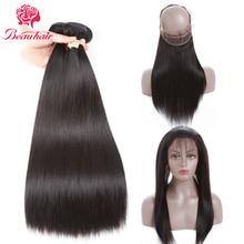 Beau Hair Brazilian Straight Human Hair 2 Bundle With 360 Lace Frontal Deal Non Remy 3PCS One Pack Brazilian Hair Weaving Bundle