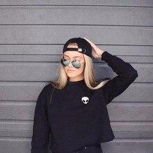 Women Casual Sweatshirt Solid Long Sleeve Alien Printed Coat Female Pullover