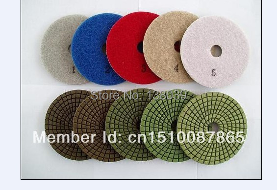 4'' Best Quality Diamond 5 Step Wet Flexible Polishing Pads For Granite Marble