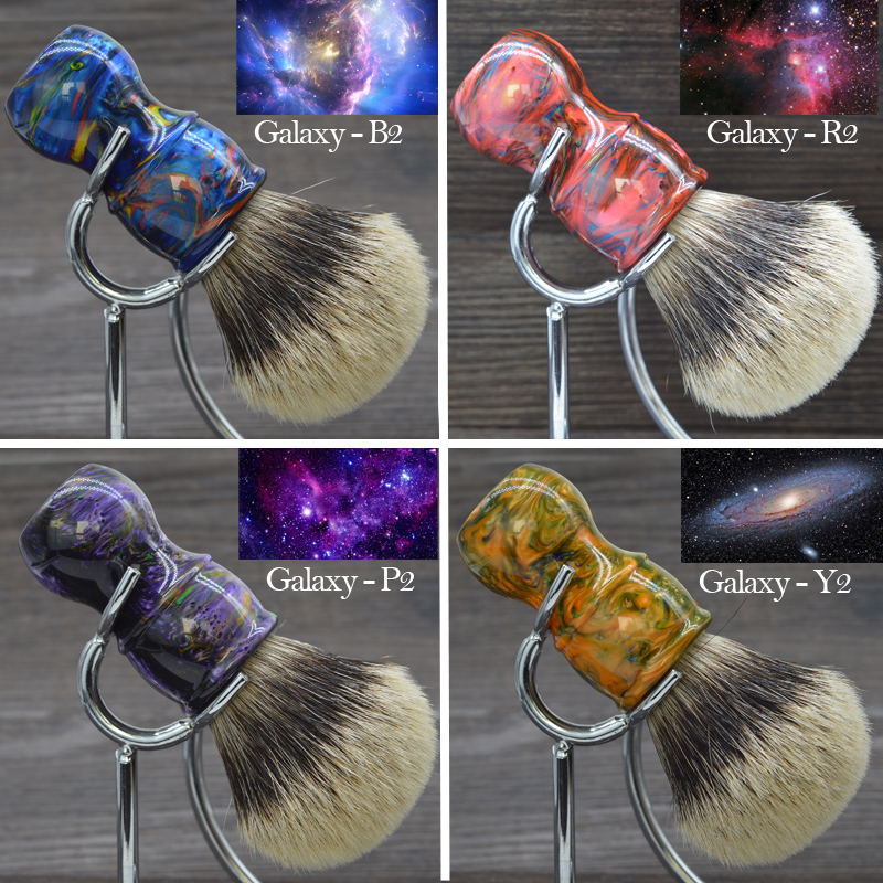 dscosmetic 24mm Galaxy resin handle 2 band silvertip badger hair shaving brush for man shave ds 2 band 100% finest badger hair shaving brush & classic black resin handle 30mm knot