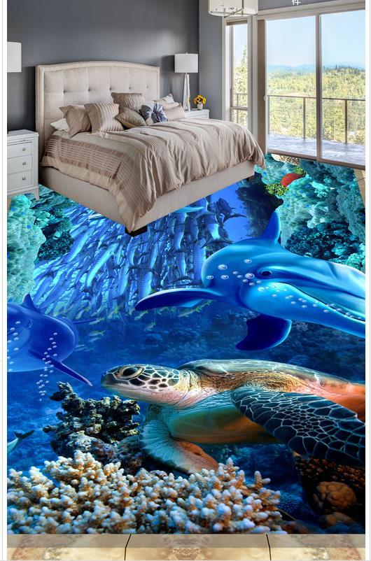 Modern Custom 3D floor mural Sea world dolphin floor tile floor PVC Wall paper self-adhesive Floor mural
