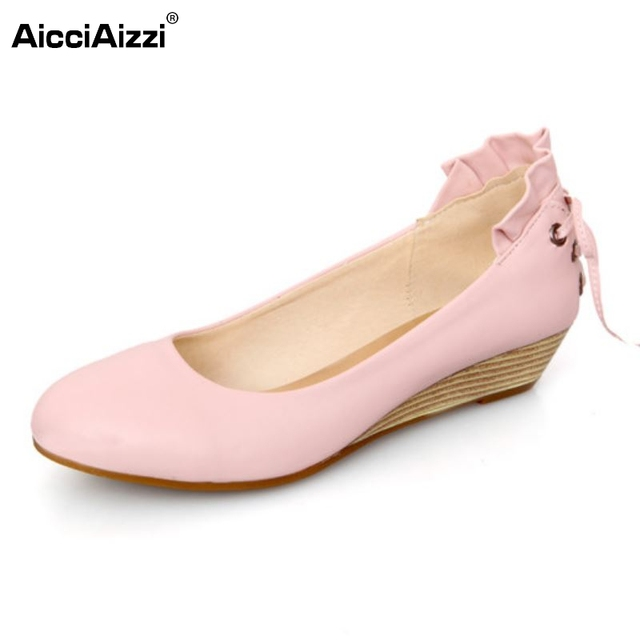 Women Wedge Shoes New Design Back Lace-Up Round Toe Shoes Woman Party High Quality Pumps Shoes Heeled Footwear Size 34-39