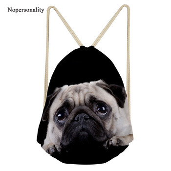 Nopersonality Drawstring Bags Kids Cute Puppy Pug Drawstring Backpack Women Drawstring Bag Teenager Girls Soft School Bagpack фото