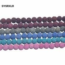 Wholesale 8 MM Natural Stone Rock Ball Colorful Volcanic Lava Round Loose Spacer Beads DIY For Jewelry Bracelet Making Gift
