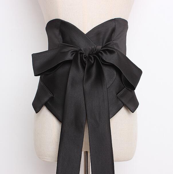 Women's Runway Fashion Wide Silk Big Bow Cummerbunds Female Vintage Dress Corsets Waistband Belts Satin Decoration Wide Belt