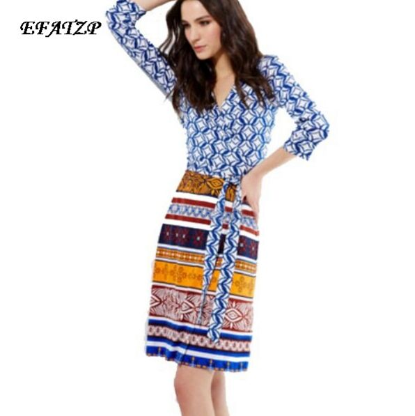 New 2015 Designer Luxury Brands Women s Bohemian Print 3 4 Sleeve Stretch Jersey Silk Plus