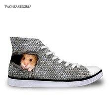 Twoheartsgirl Szürke hörcsög mintás női vulkanizáló cipő Kényelmes magas felső boka szőnyeg cipő College Student szabadidő cipő