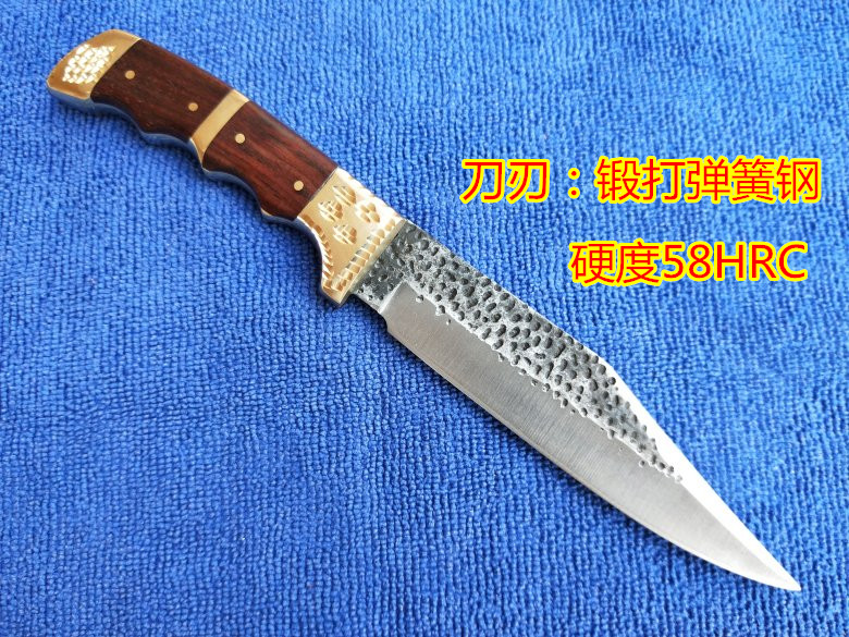 Купить с кэшбэком Handmade Forged tactical utility patterned steel pattern hunting knife fixed tools Pear handle first layer packing Sharp Knives