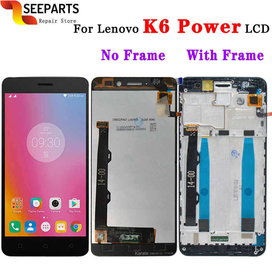 "Lenovo k6 power display lcd touch screen digitador assembléia com quadro k33a42 k33a48 ferramenta de substituição 5.0 ""lenovo lenovo display"