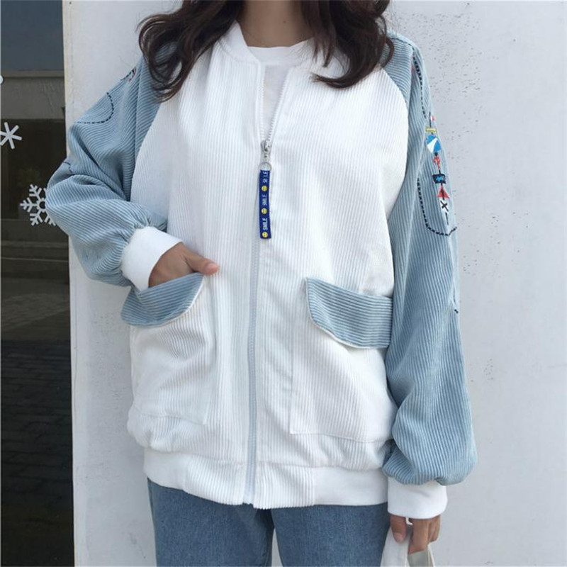 2017 Autumn Women Korea New corduroy spell color zipper small fresh kawaii Embroidery long sleeve Harajuku Jacket Top