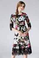 European American Style Dress Summer 2017 Women Vintage Retro Flower Print Lace Beading 3 4 Sleeve