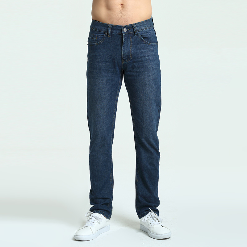 Jeans Mens Brand High Quality Stretch Blue Denim Jeans Fashion Pleated Pocket Trousers Pants Size 30 32 33 34 36 38 40