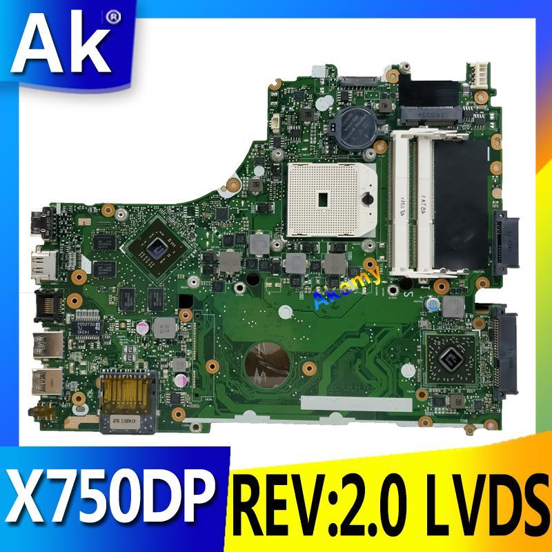 AK X550DP Motherboard REV: 2.0 LVDS Para ASUS X750DP K550DP K550D X550D Laptop motherboard Mainboard X550DP X550DP Motherboard