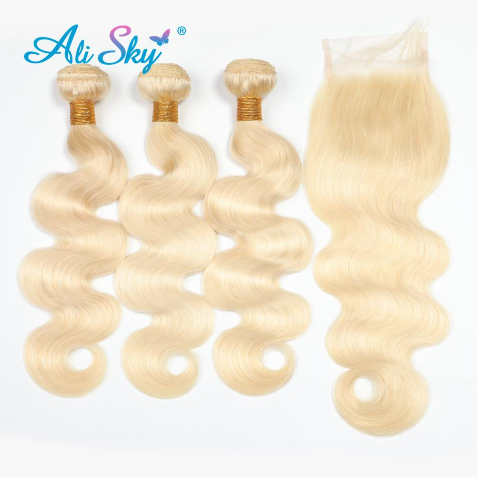 Ali Sky Hair Brazilian Body Wave Hair Human Hair Extensions 10-24 Inch 613 Blonde Remy Hair Weaving 3 Bundles With Lace Closure