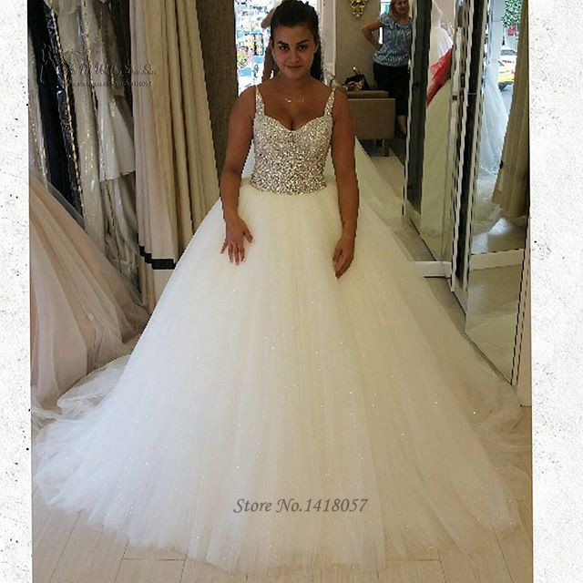 Wedding Ball Gowns With Straps: Luxury Rhinestones Wedding Dress 2016 Straps Ball Gown