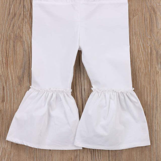 f546ce15d3c5 1-6Y Kids Girl Rose Embroidered Rompers Off Shoulder Kids Girls Jumpsuit  Bell Bottom Pants
