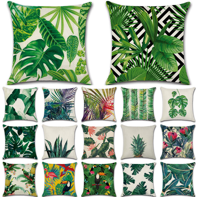 Tropical Plants Cactus Monstera Summer Decorative Throw Pillows Cotton Linen Cushion Cover Palm Leaf Green Home Decor Pillowcase