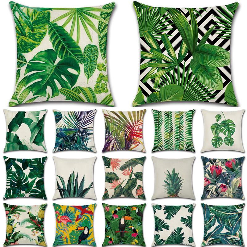 Tropical Plants Cactus Monstera Summer Decorative Throw Pillows Cotton Linen Cushion Cover Palm Leaf Green Home Decor Pillowcase