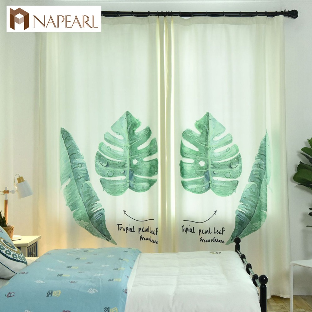 US $13.69 49% OFF Modern curtains spring green living room bedroom curtains  window treatment balcony plant leaves curtain pastoral modern style-in ...