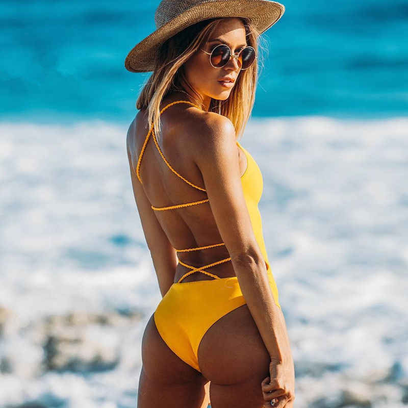 Banage Yellow Backless 2019 Brazilian Women One Piece Swimsuit Sexy Bodysuit Swimwear Female Monokini Bathing Suits