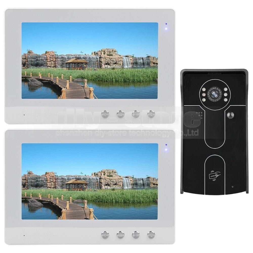 DIYSECUR 10 inch Wired Video Door Phone Doorbell Home Security Intercom System RFID Camera IR Night