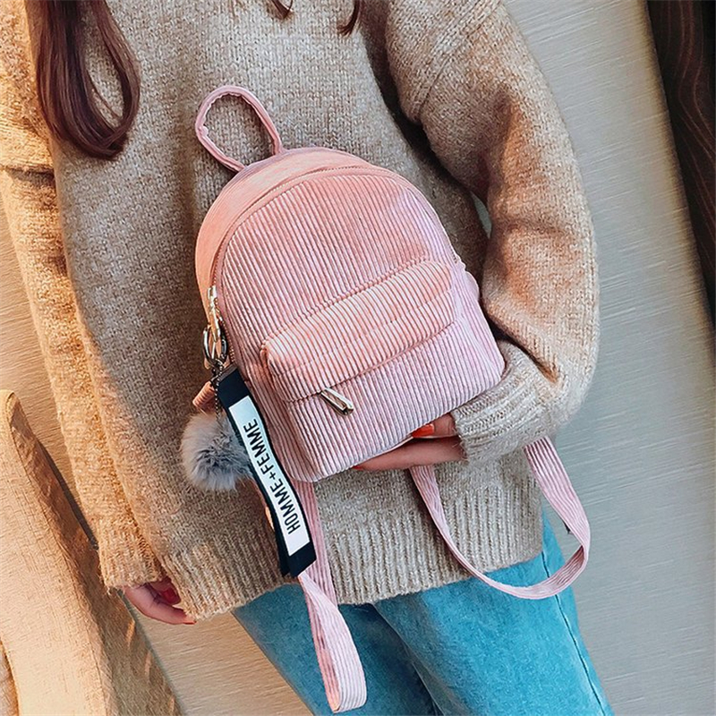 Miyahouse Women Mini Corduroy Backpack Teenagers Cute Backpack With Fuzzy Ball Children Small Shoulder Bags Female Travel Bags