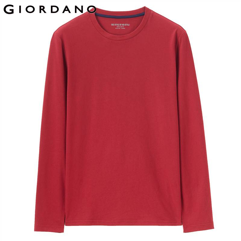 d517ff17ec4 US $14.5 42% OFF Giordano Men T Shirt Men Brushed Cotton Round Neck Tshirt  Men Long Sleeve Durable Tee Warm Comfortable Camisetas Hombre Classic-in ...