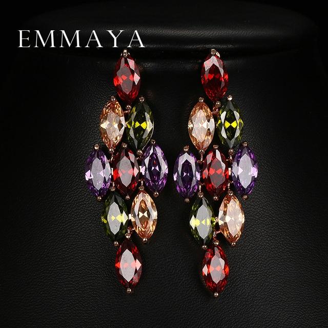 Emmaya Подарки на Новый год модные роскошные серьги полный блестящие прозрачные Украшенные стразами Висячие серьги для Для женщин ювелирные изделия