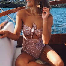 Bikinx Large size swimsuit one piece bodysuits Dot knot bathing suit women monokini Push up yellow bikinis mujer new swimwear XL