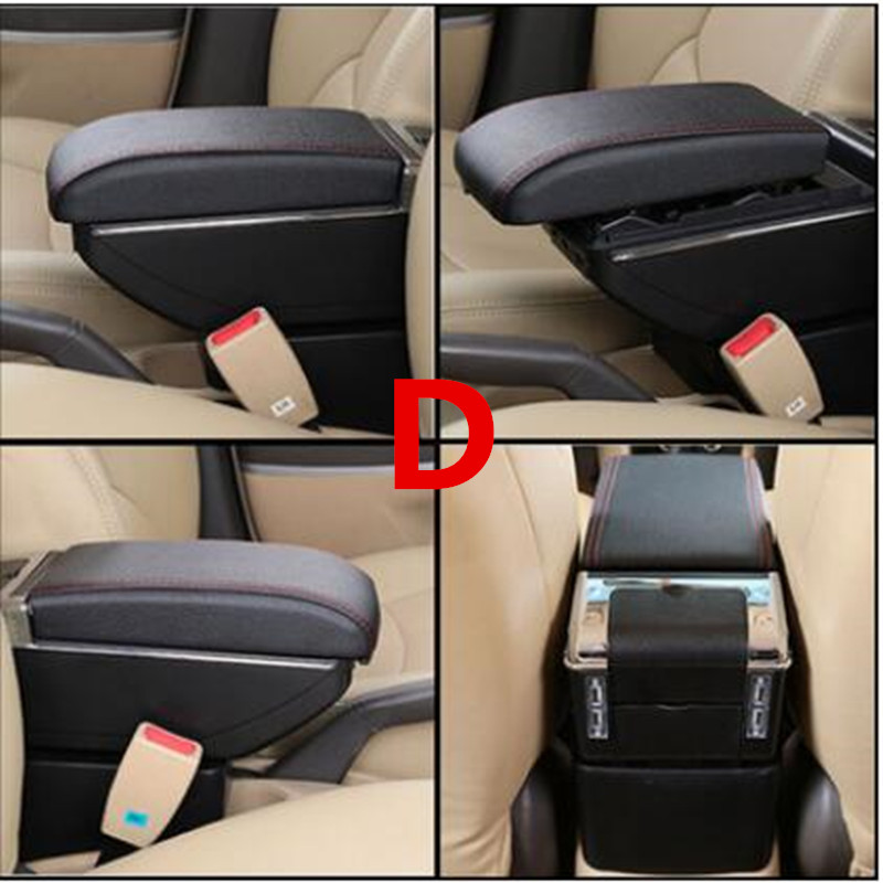 Для Volkswagen Polo подлокотник коробка Polo V Универсальный 2009- Автомобильная центральная консоль Модификация аксессуары двойной приподнятый с USB - Название цвета: D black red line