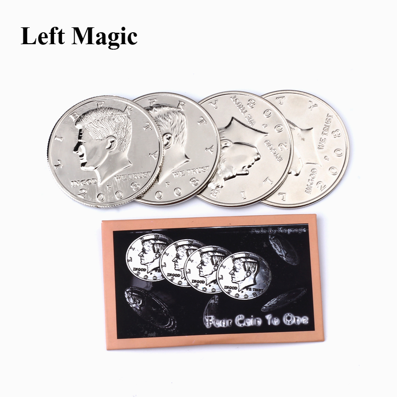 Four Coin To One Big Half (Dollar Diameter 5.6 Cm) Magic Tricks 1 Coins+3 Shell Half Dollar Expanded Shell Dollars Coin Magic