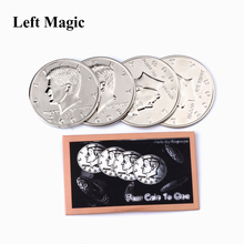 Four Coin To One Big Half (Dollar Diameter 5.6 Cm) Magic Tricks 1 Coins+3 Shell Half Dollar Expanded Shell Dollars Coin Magic цена и фото