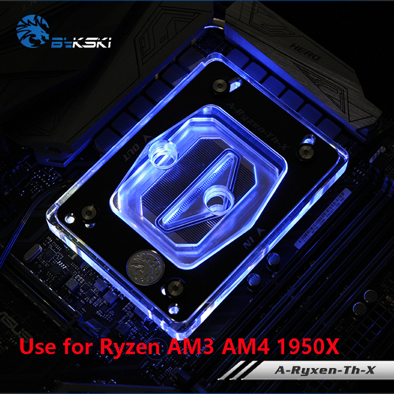 Bykski Water Cooling Radiator CPU Block use for AMD Ryzen ThreadRipper AM2/AM3/AM4/TR4/1950X RGB Light AURA Light Radiator Block bykski water cooling radiator cpu block use for amd threadripper 940 am2 am3 am4 x399 1950x rgb or aurora light radiator block